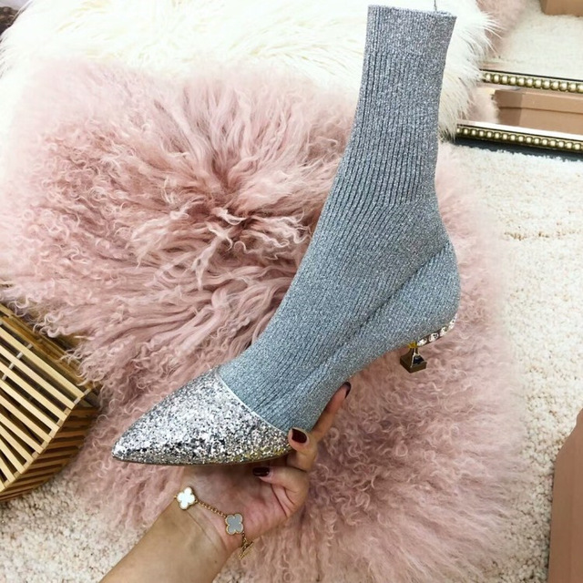 punta fina con botas de mujer Europa y los Estados Unidos nueva plata lentejuelas gatos y perros con un solo calcetines botas