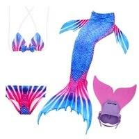 Hot Sales Summer Children Swimmable Mermaid Tail + Monofin for Girls Swimming Blue Kids Swimwear Bikini Set Cosplay Beach Photo