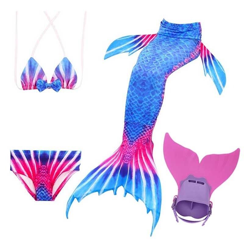 Offres spéciales été enfants nagable queue de sirène + Monofin pour les filles natation bleu enfants maillots de bain Bikini ensemble Cosplay plage Photo