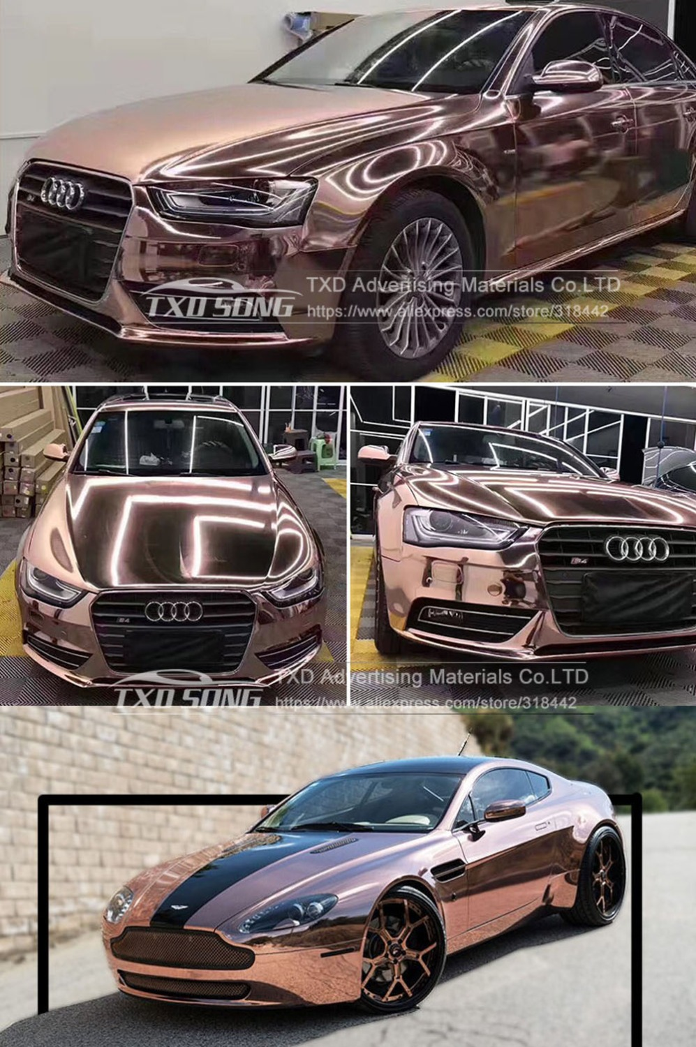 Image 2 - The newest High stretchable mirror rose gold Chrome Mirror flexible Vinyl Wrap Sheet Roll Film Car Sticker Decal Sheet-in Car Stickers from Automobiles & Motorcycles