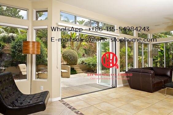 Aluminum Folding Door For Restaurant,Wood Color Surface Treatment Aluminium Profile Glass Folding Doors For Balcony Doors