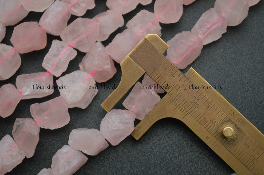 High Quality Natural Raw Rose Quartz Rough Stone 10mm~14mm Nugget Loose Beads fit Fashion Jewelry making 5 strands per lot