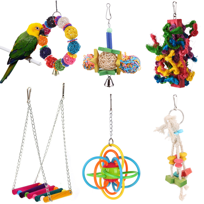 1pc Bird Parrot Toys Colorful Silicone Ball Cage Hanging Toy For Parrots Parakeet Cockatiel Swing Bird Pet Products