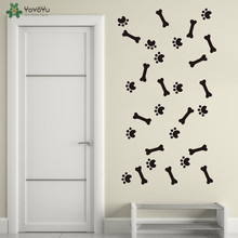 YOYOYU Wall Decal Dog Paw Print Stickers Puppy Bone Decals Mural For Pet Salon Vinyl Art Poster Colorful QQ306