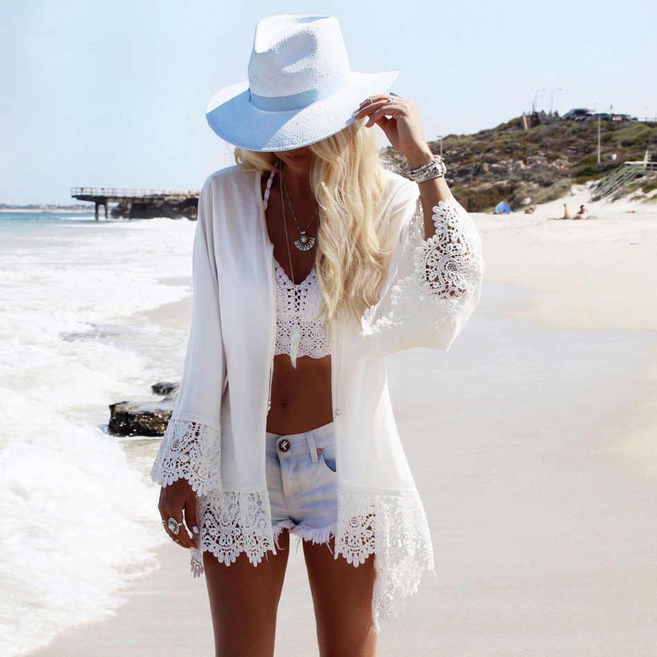 2018 Sexy Beach Cover Up Bianco Crochet Tunica Bikini Delle Donne Cover-ups Costumi Da Bagno Delle Donne del Costume Da Bagno Cover Up Vestito Allentato costumi da bagno Spiaggia