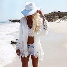 Túnica de Crochet blanca para mujer, vestido playero Sexy para mujer, bañador de playa para mujer, vestido holgado para playa 2018