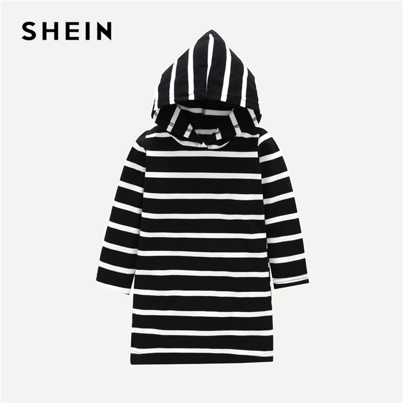 SHEIN Kiddie Black And White Striped Hooded Girls Casual Shirt Dress 2019 Spring Streetwear Long Sleeve Kids Straight Dresses