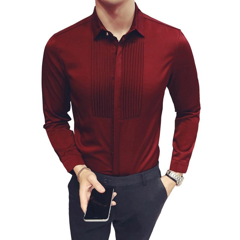 2018 New Slim Fit Mens Shirts Wedding Party Long Sleeve Tuxedo Shirt Men Fashion Dress Shirt Groomsman and Groom Shirts 5XL
