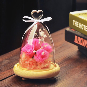 Free Shipping 2sets/pack Glass Dome Vase Glass Cover with wood base Home Wedding Decoration Glass Cover Friend Gift