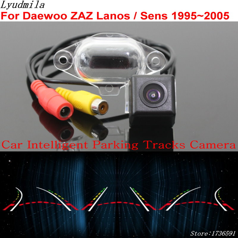 Lyudmila Car Intelligent Parking Tracks Camera FOR Daewoo ZAZ Lanos / Sens 1995~2005 HD CCD Car Back up Reverse Rear View Camera car trajectory camera for daewoo gentra kalos tosca winstorm hd rear view reverse camera intelligent dynamic parking line