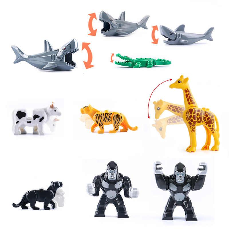 Động vật Khối Xây Dựng Gạch Khổng Lồ Đười Ươi Tiger Khủng Long Nai Sừng Tấm Wolf Ngựa Ngựa Ngựa Nhỏ Hình Đồ Chơi cho Trẻ Em tương thích với lego