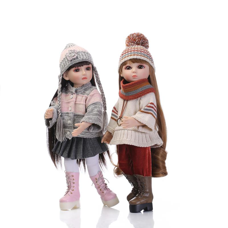 NPK18 45cm long hair BJD/SD simulation baby girl with Hand hook sweater and hat kid birthday gifts silicone reborn baby doll