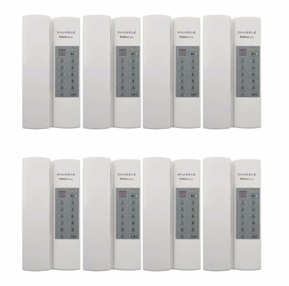 ZHUDELE Multi-function home security Interphone 8-way safe audio doorphone/intercom system, Max 99 handle extenable+Power supply