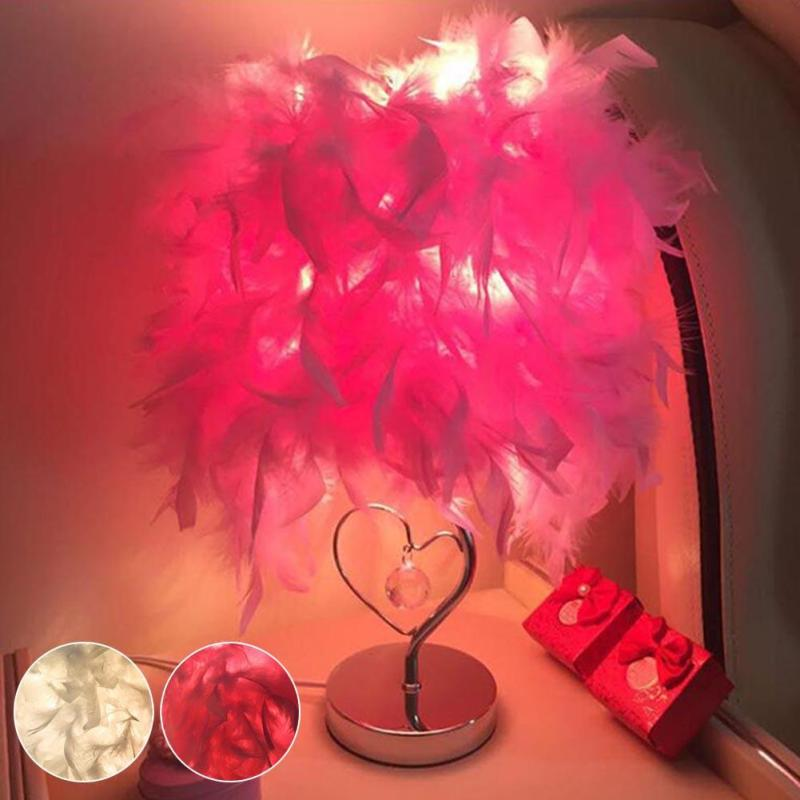Feather Table Lamps E27 Bedside Reading Room Foyer Sitting Room Living Heart Shape Crystal Table Light Z3 office table decoration led desk lamp nightlights bedside room sitting room heart shape feather crystal table lamp