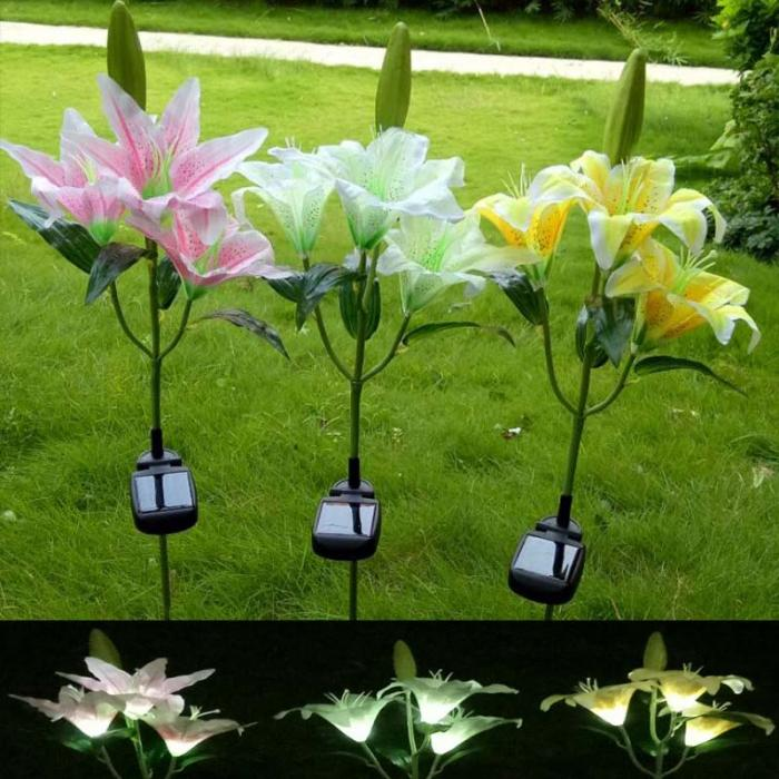 Solar LED Flower Lily Garden Stake Landscape L& Outdoor Yard Party Decor Lights ALI88 & Solar LED Flower Lily Garden Stake Landscape Lamp Outdoor Yard Party ...