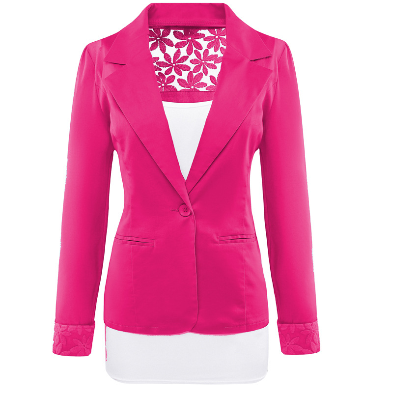 Womens Spring Autumn Jackets and Coats Women Slim Fit Blazer Feminino Hollow Out Lace Blazer Female Black Red White Khaki Purple