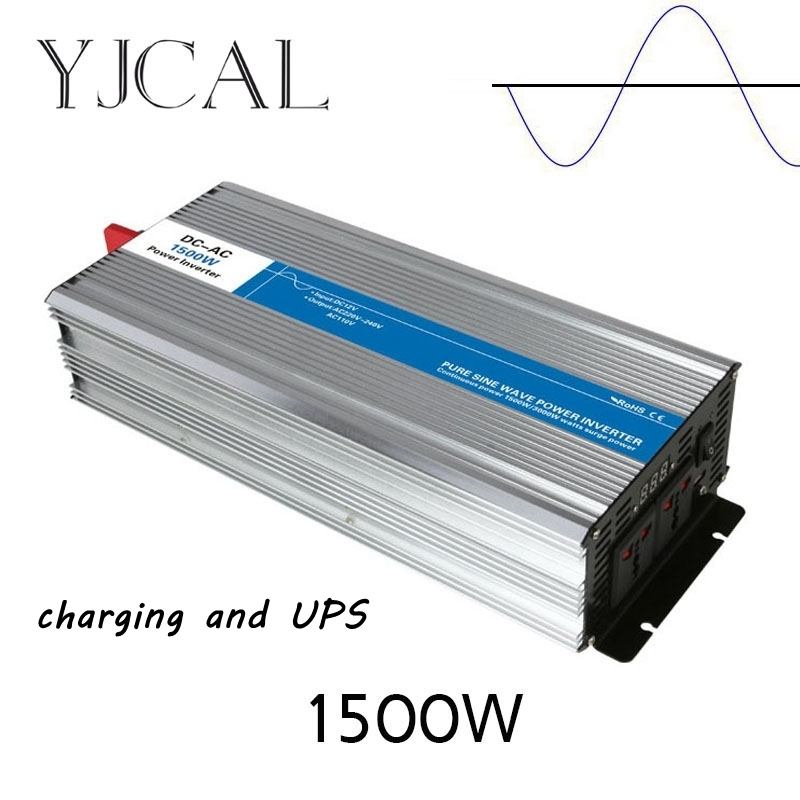 Pure Sine Wave Inverter 1500W Watt DC 12V To AC 220V Home Power Converter Frequency Electric Power Supply With Charger And UPS pure sine wave inverter 3000w watt dc 12v to ac 220v home power converter frequency electric power supply with charger and ups