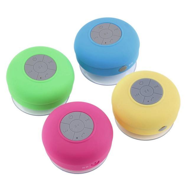 Nueva llegada impermeable silicona manos libres Mic succión Bluetooth inalámbrico MP3 reproductor altavoz baño ducha columna