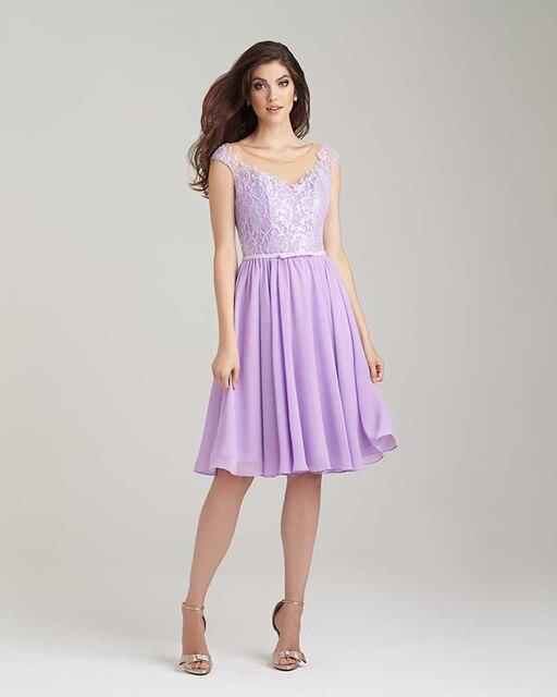 Unique Light Purple Lace Bridesmaid Dress 2017 Scoop Liqued Short Party Dresses Backless Bride