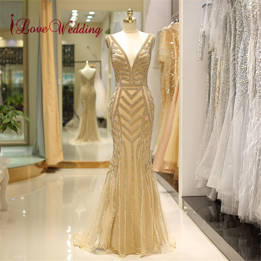 iLoveWedding Formal   Dress   V Neck Gold Sequined   Evening   Gown Abendkleider 2018 Sleeveless Sexy Back Mermaid Long   Evening     Dresses
