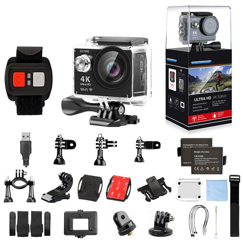 AKASO EK7000 4K WIFI Outdoor Action Camera Video Sports pro Camera wifi Ultra HD DV Camcorder Go Waterproof + accessories free shipping gitup git2 16m ultra 2k wifi dv sports action helemet camera 18 in 1 accessories