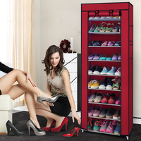 10 layer 9 grid Simple Furniture multi functional Shoe Storage Cabinets folding non woven dust shoe closet wholesale shoe rack