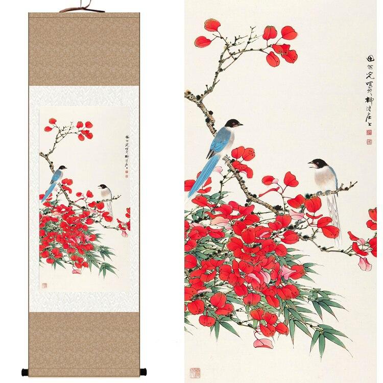 Traditionnel Chinois Soie aquarelle fleur oiseau Rouge feuilles D'érable d'encre feng shui toile mur photo damassé encadrée peinture de défilement