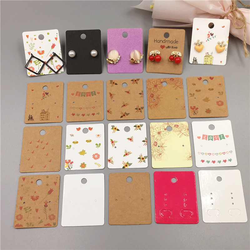 Various Earrings Cards Colorful Printed Paper Cardboard For Long Drop Stud Earring Displays Cards Fashion Jewelry Packaging Card