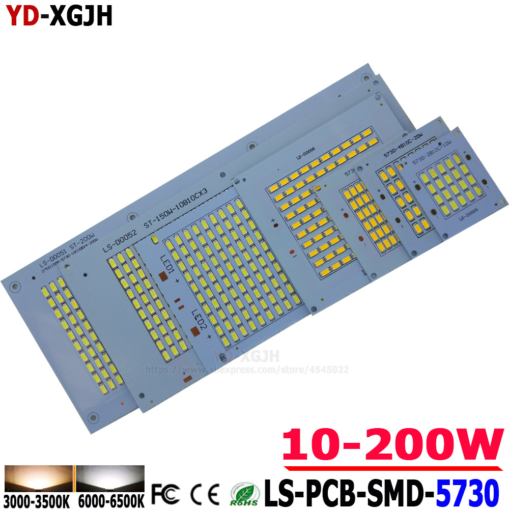 5pcs/Lot 10W20W30W50W100W150W200WSMD5730LED Pcb Floodlight Pcb Aluminum Lamp Plate  Led Lighting Source Panel For Outdoor Lamp