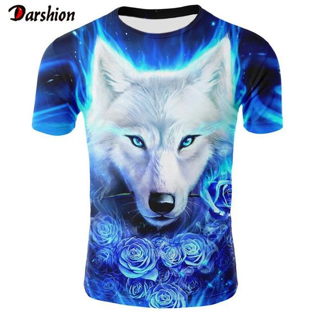 2019 Mais Novo Lobo 3D T-Shirt Impressão Animal Engraçado Legal T Camisa Homens Manga Curta Verão Tops Camiseta T-shirt Moda Masculina masculino 4XL