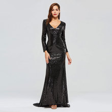 цена на Tanpell v neck evening dress full sleeves sequins women zipper up formal mermaid reflective dress plus custom evening dress