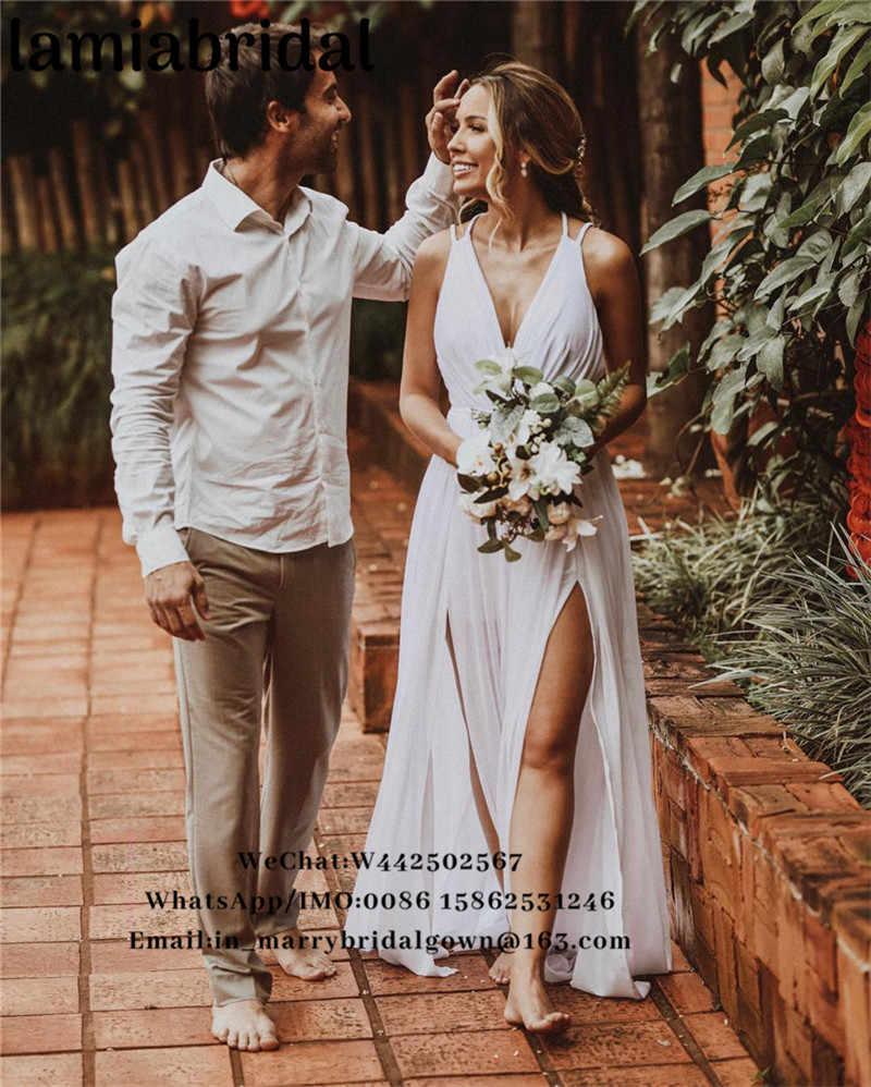 Hippie Wedding Dresses.Sexy Boho Beach Hippie Wedding Dresses 2019 Vestido De Novia A Line V Neck Backless Plus Size Split Long Chiffon Bridal Gowns