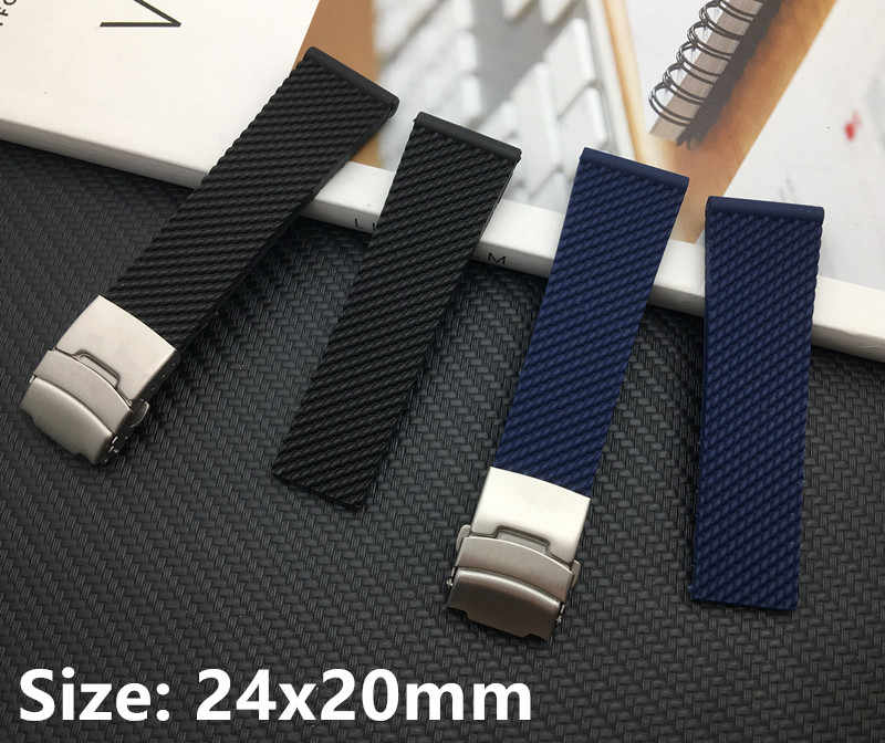 Black dark blue soft Silicone Rubber Watch band 24mm WatchBand Bracelet For navitimer/avenger for Breitling strap free tools