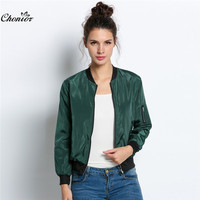2016 Spring Autumn Women Thin Jackets Tops MA1 Bomber Jacket Long Sleeve Coat Casual Stand Collar