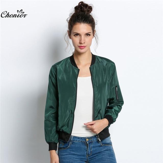 72c6bbe1559 2016 Autumn Fashion Bomber Jacket Women Long Sleeve Basic Coats Casual Thin  Slim Outerwear Short MA1 Pilot Bomber Jackets