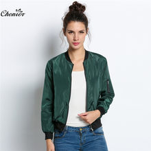 2016 Autumn Fashion Bomber Jacket Women Long Sleeve Basic Coats Casual Thin Slim Outerwear Short MA1 Pilot Bomber Jackets(China)
