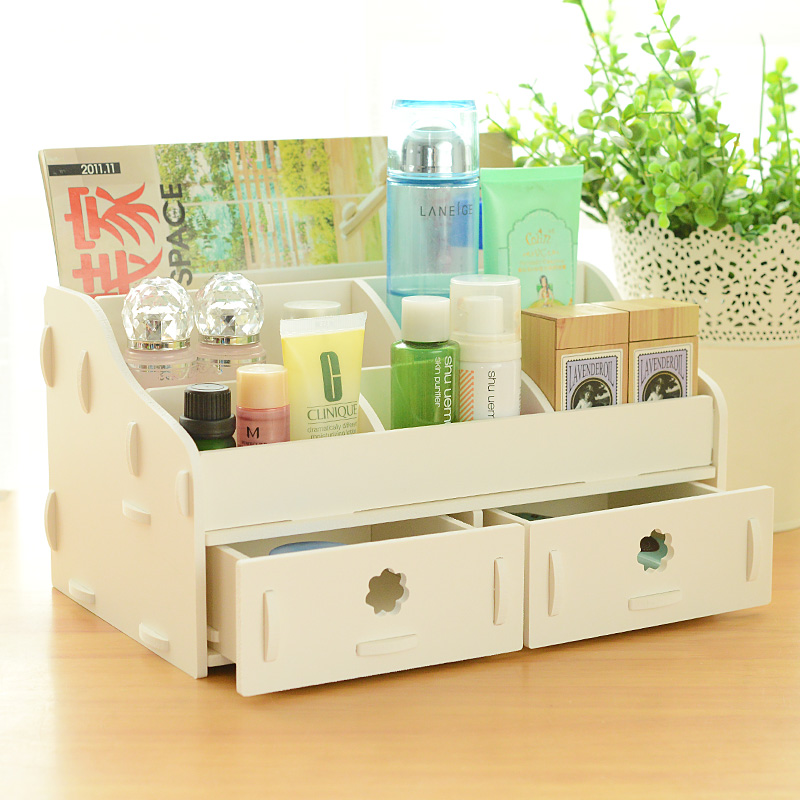 Wood Drawer Jewelry Box Desk Storage Bo Cosmetic Organizer Office Debris Shelf Finishing For Home Decor Bathroom In Bins From