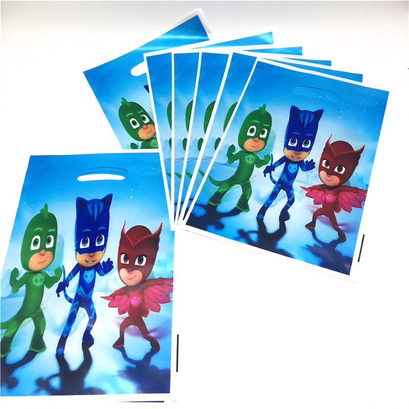 PJ MASKS Cartoon Birthday Party Supplies 10Pcs/Lot Troll Theme Trophy Bag Birthday Happy Gift Recycling Bag Party Supplies