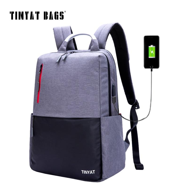 TINYAT Men's Backpack Bag 15/16 inch Laptop Backpacks Men Male School Backpack Rucksacks For Teenagers Gray Bags Bagpack T811 tinyat men s 15 inch laptop backpack computer school backpacks rucksacks leisure for teenage boys mochila male escolar gray 1101