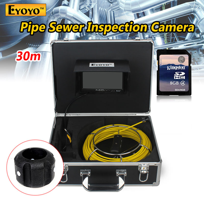 Eyoyo 30M Sewer Video Recording Camera 7 LCD Screen Drain Pipe Inspection DVR 12 Led with Battery with  Aluminum Case eyoyo 7 lcd screen 20m 800 480 1000tvl 4500mah sewer drain camera pipe wall inspection endoscope w keyboard dvr recording 8gb