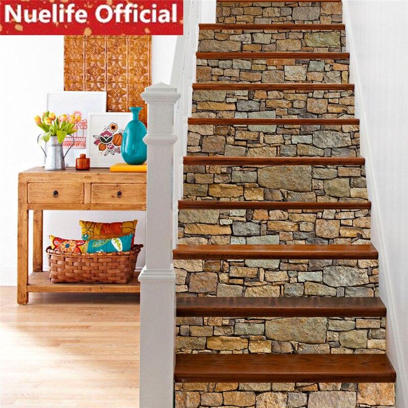 18x100x6 pièces brique de marbre décoratif stickers muraux salon chambre maternelle salle à manger escalier décoratif mur autocollant