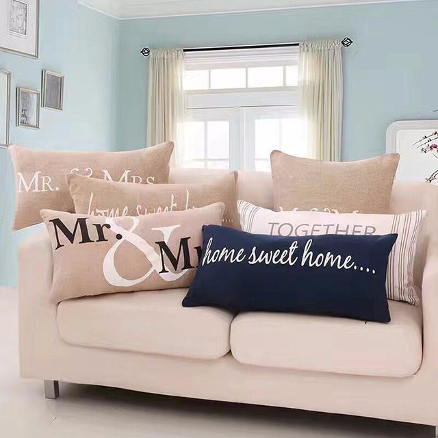 Lurex Linen Cotton Blend Mr Mrs Wedding Decorative Pillow Cushion Home Sweet Square For Sofa Car Living Room Withfilling