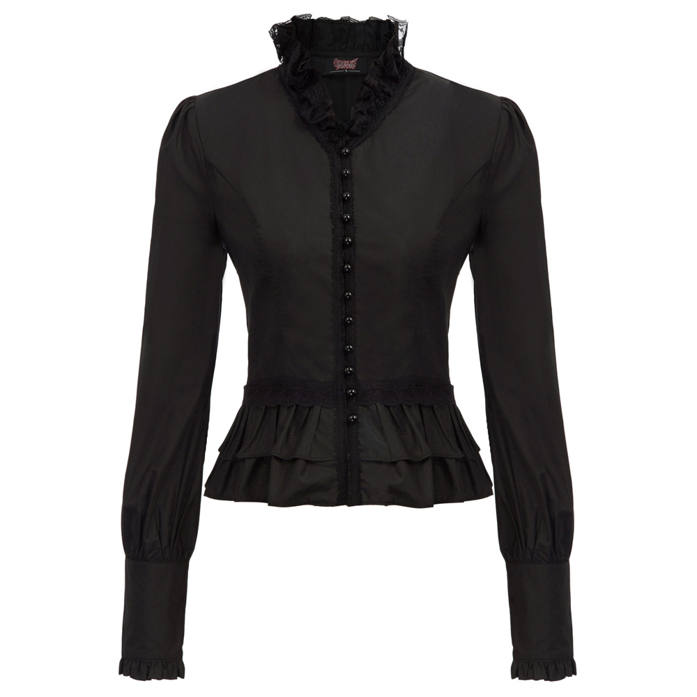 Leather shirt with lacings Gothic Slim Fit lace up shirt