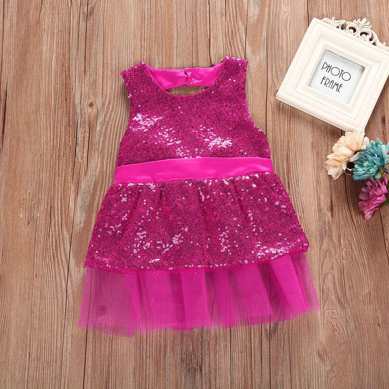 1 2 3 4 Year Baby Children Princess Dress 2018 New Summer Girls Party Wedding Clothes Sleeveless Bow Kids Dresses for Girls 7