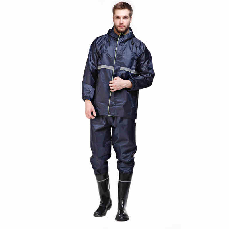 Men Raincoat Sets Waterproof Hooded Working clothing With Reflective Strip Safety Outdoor Work Travel Rainwear Jacket + Pants  reflective raincoat rain pants waterproof single raincoat men and women for riding working free shipping