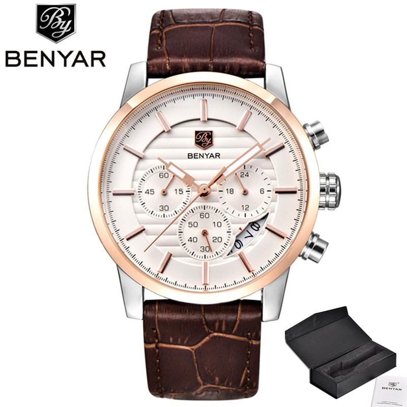 BENYAR Men Watch Top Brand Luxury Quartz Watch Mens Sport Fashion Analog Leather Strap Male Wristwatch New Waterproof Clock xfcs goblin shark sport watch 3d logo dual movement waterproof full black analog silicone strap fashion men casual wristwatch sh165