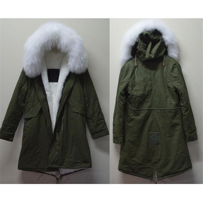 Long green coat with fur