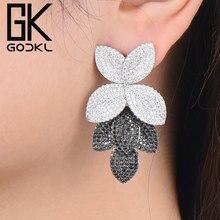 GODKI Celebrity Favoriete Luxe Blad Bladeren Bloem Collection Volledige Micro Zirconia Verharde Wedding Bridal Earring Voor Vrouwen