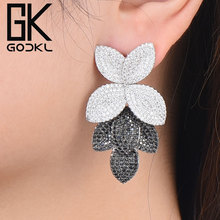 GODKI Celebrity ulubione luksusowe liście liści kolekcja kwiatów pełne mikrosześciany z cyrkoniami betonowa ślubne kolczyki ślubne dla kobiet