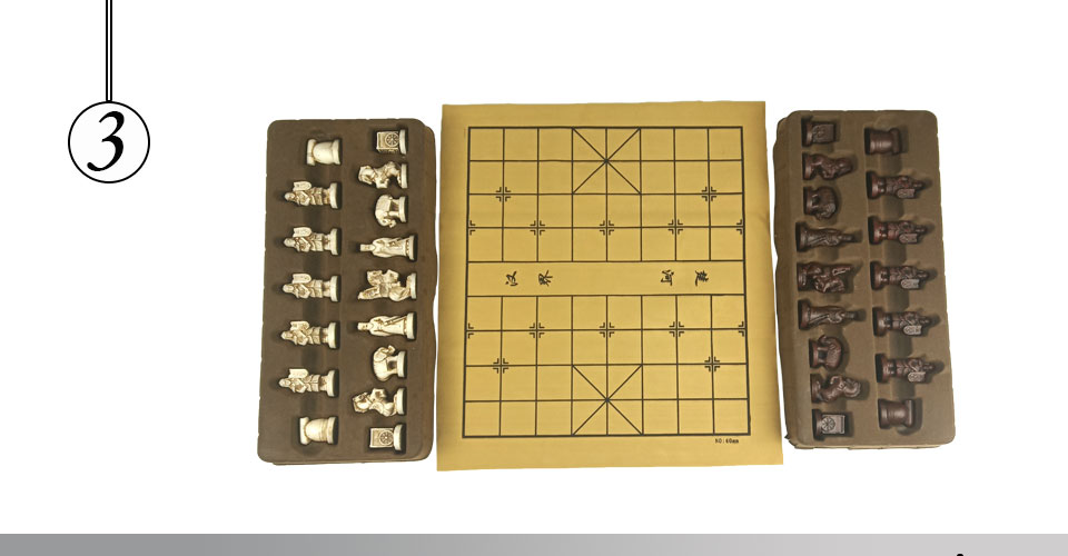 Easytoday Chinese Chess Games Synthetic Leather Chessboard Chinese Terracotta Warriors Resin Chess Pieces Table Games Birthday Gift (3)